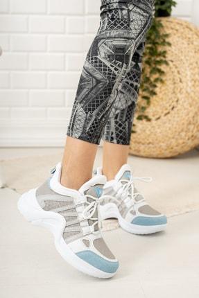 Moda Değirmeni Kadın Gri Mavi Sneaker Md1054-101-0001 0