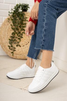 Moda Değirmeni Kadın Beyaz Siyah Tabanlı Sneaker Md1053-101-0002 1