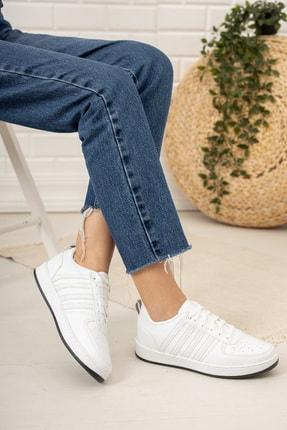 Moda Değirmeni Kadın Beyaz Siyah Tabanlı Sneaker Md1053-101-0002 2