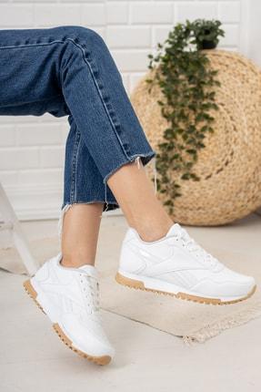 Moda Değirmeni Kadın Beyaz Krep Tabanlı Sneaker Md1053-101-0001 1