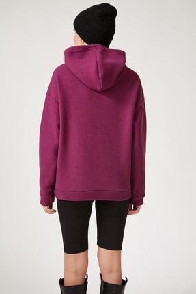 Happiness İst. Kadın Mor Kapüşonlu Kışlık Polar Sweatshirt ZV00047 2