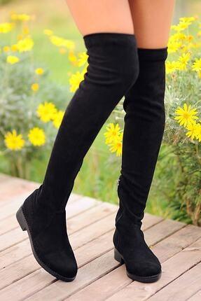 Pembe Potin Kadın Siyah Nubuk Çizme A9200-19 1