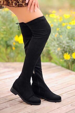 Pembe Potin Kadın Siyah Nubuk Çizme A9200-19 2