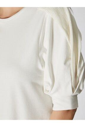 Vekem Kadın Kırık Beyaz Şifon Kol Detaylı Pamuklu Bluz 9107-0074 3