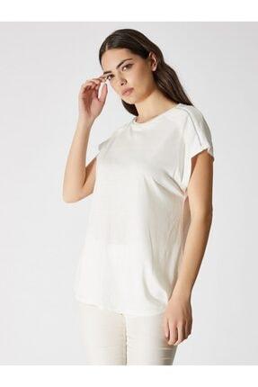 Vekem Kadın Kırık Beyaz Sıfır Yaka Japone Kol Bluz 9107-0071 0