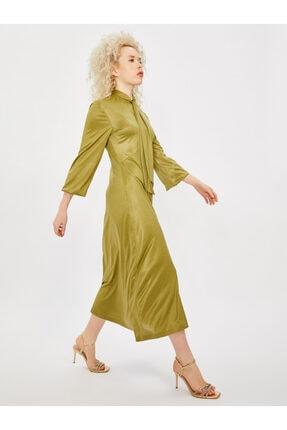 Vekem Kadın Yeşil Yakası Bağlamalı Uzun Kol Midi Elbise 0
