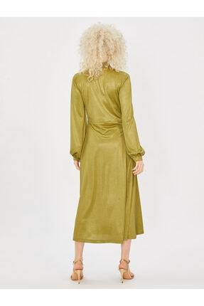 Vekem Kadın Yeşil Yakası Bağlamalı Uzun Kol Midi Elbise 1