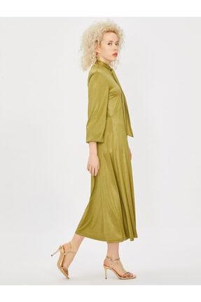 Vekem Kadın Yeşil Yakası Bağlamalı Uzun Kol Midi Elbise 2