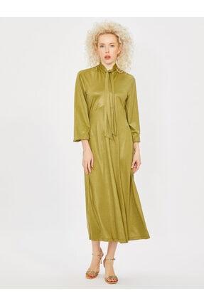 Vekem Kadın Yeşil Yakası Bağlamalı Uzun Kol Midi Elbise 3