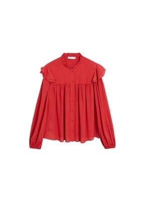 Mango Kadın Kırmızı Hakim Yakalı Bluz 67025973 2