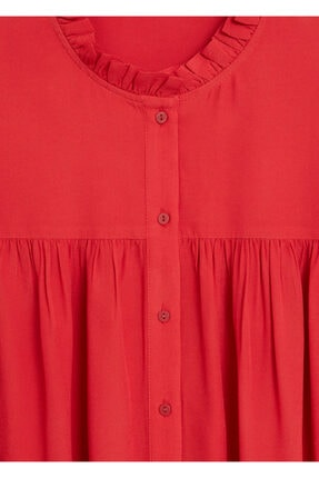 Mango Kadın Kırmızı Hakim Yakalı Bluz 67025973 4