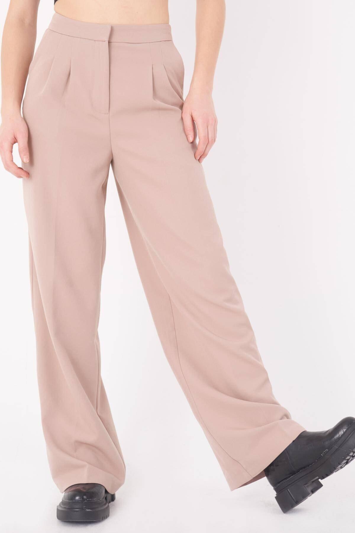 Addax Kadın Bej Cep Detaylı Bol Pantolon PN8058 - E8 ADX-0000023058 4