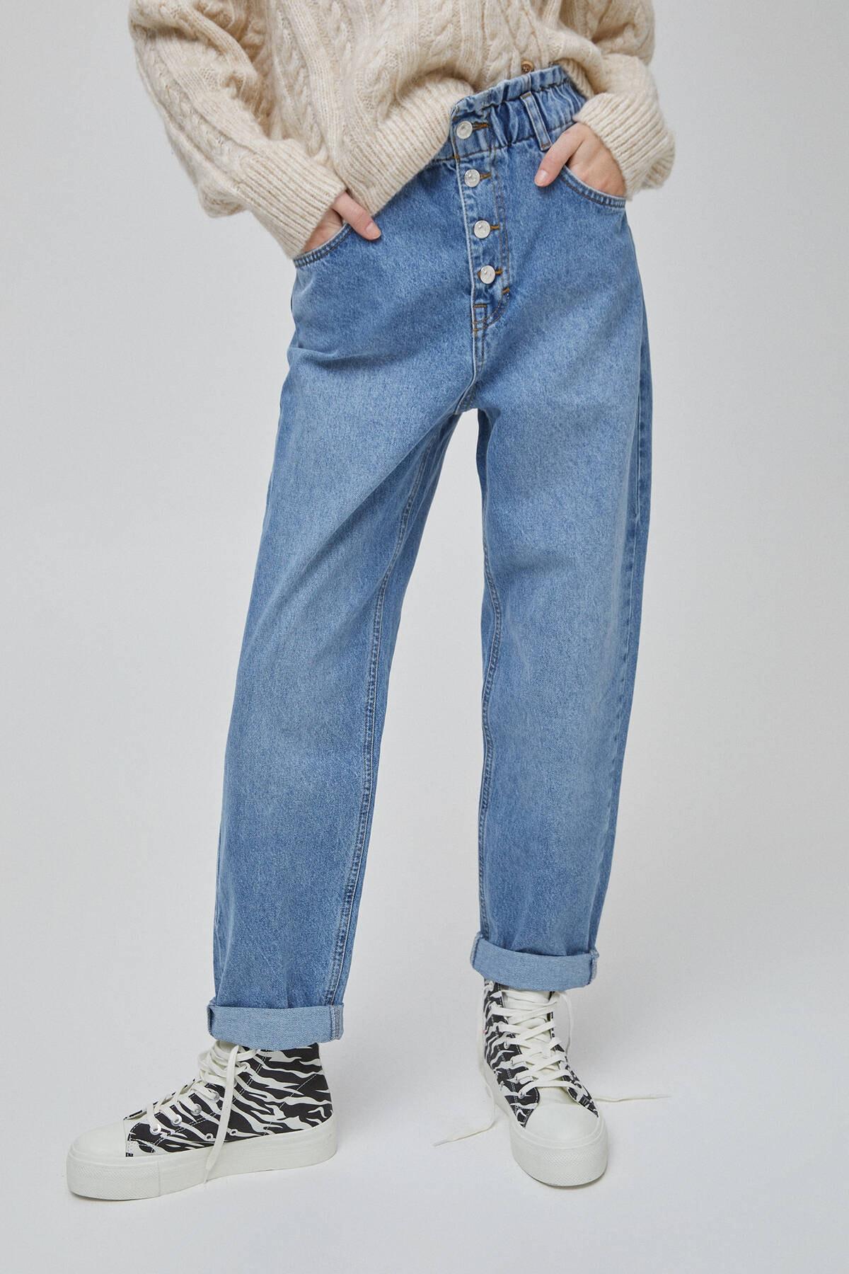 Pull & Bear Kadın Mavi Önü Düğmeli Slouchy Jean 04681321 1
