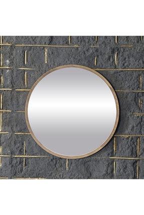 bluecape Yuvarlak Ceviz Duvar Salon Ofis Aynası 60 cm 3