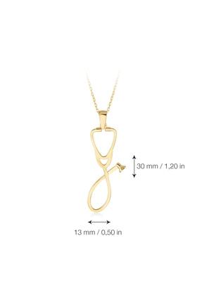 Gelin Pırlanta Kadın Altın Gelin Diamond 14 Ayar Pırlantalı Steteskop Kolye 4