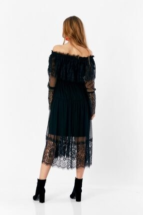 Eka Kadın Siyah Degaje Dantel İşlemeli Tül Elbise 2