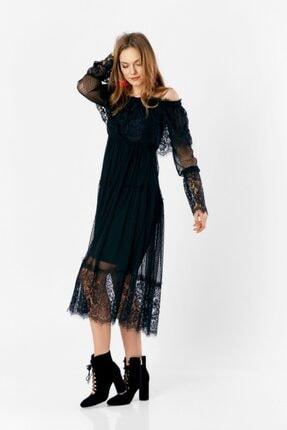Eka Kadın Siyah Degaje Dantel İşlemeli Tül Elbise 4