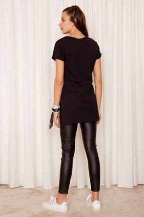Eka Kadın Siyah Bisiklet Yaka Kısa Kol T-shirt 3