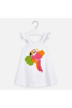 Picture of 20-3962 Çocuk Beyaz  Nakışlı Elbise