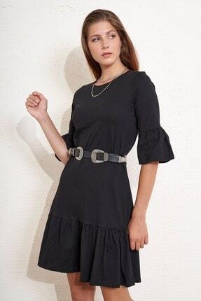 Eka Kadın Eteği ve Kolları Volanlı Salaş Elbise 1