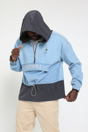 Rocqerx Erkek Gri Kot Sweatshirt 2