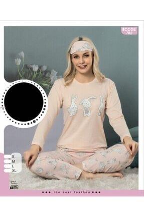 3 Lü Kadın Uzun Kol Pijama Takımı 762 Somon 4568552167