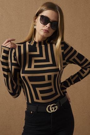 Cool & Sexy Kadın Camel-Siyah Yarım Balıkçı Desenli Bluz LPP1147 2