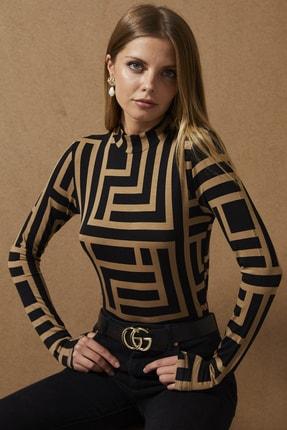 Cool & Sexy Kadın Camel-Siyah Yarım Balıkçı Desenli Bluz LPP1147 4
