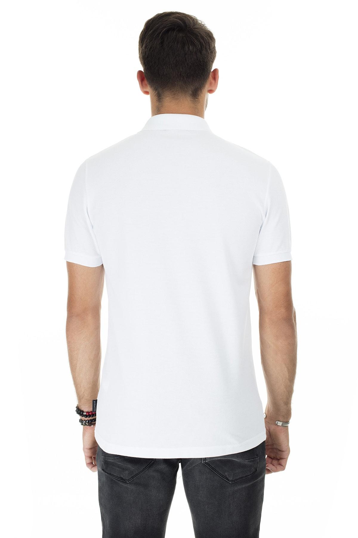 Buratti Erkek Beyaz Düğmeli Polo Yaka Pamuklu Günlük T Shirt 4362050 1