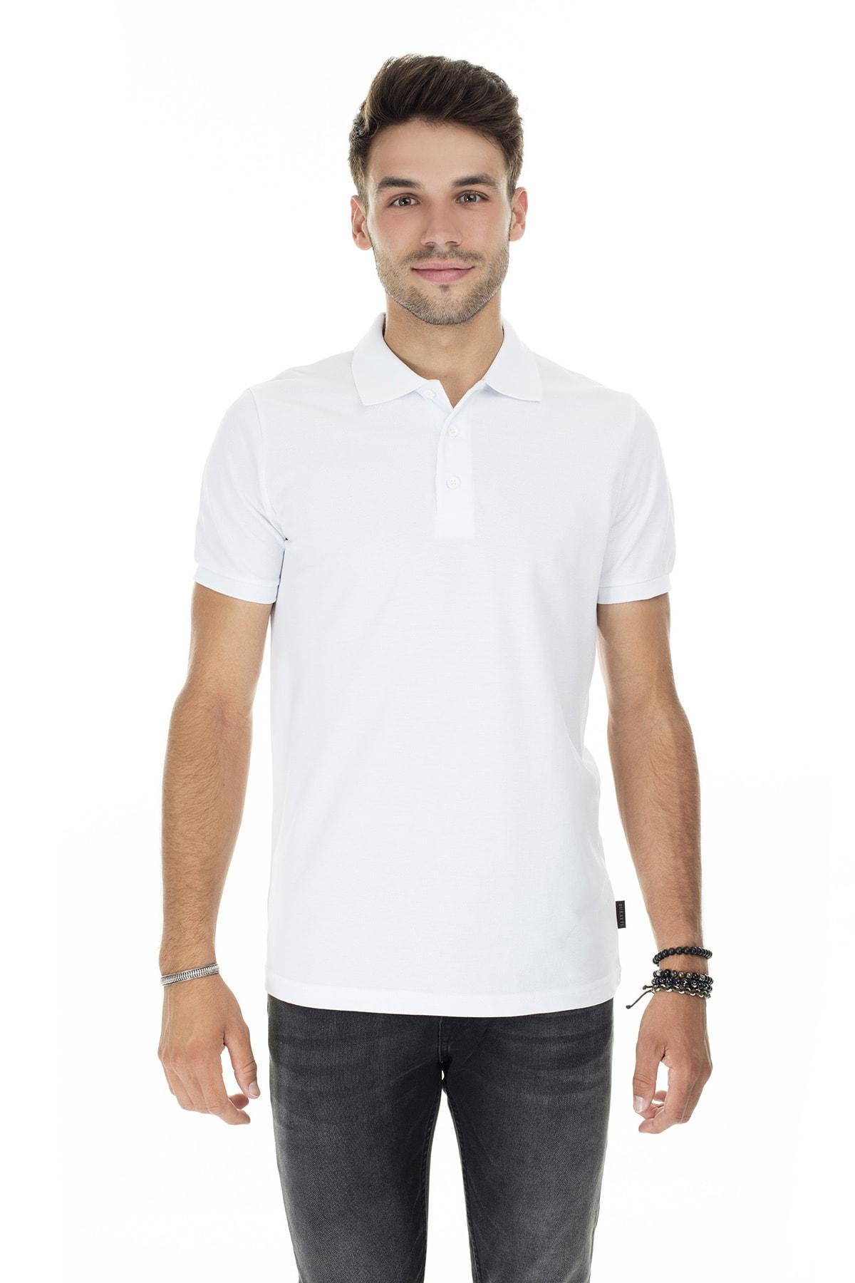 Buratti Erkek Beyaz Düğmeli Polo Yaka Pamuklu Günlük T Shirt 4362050 2