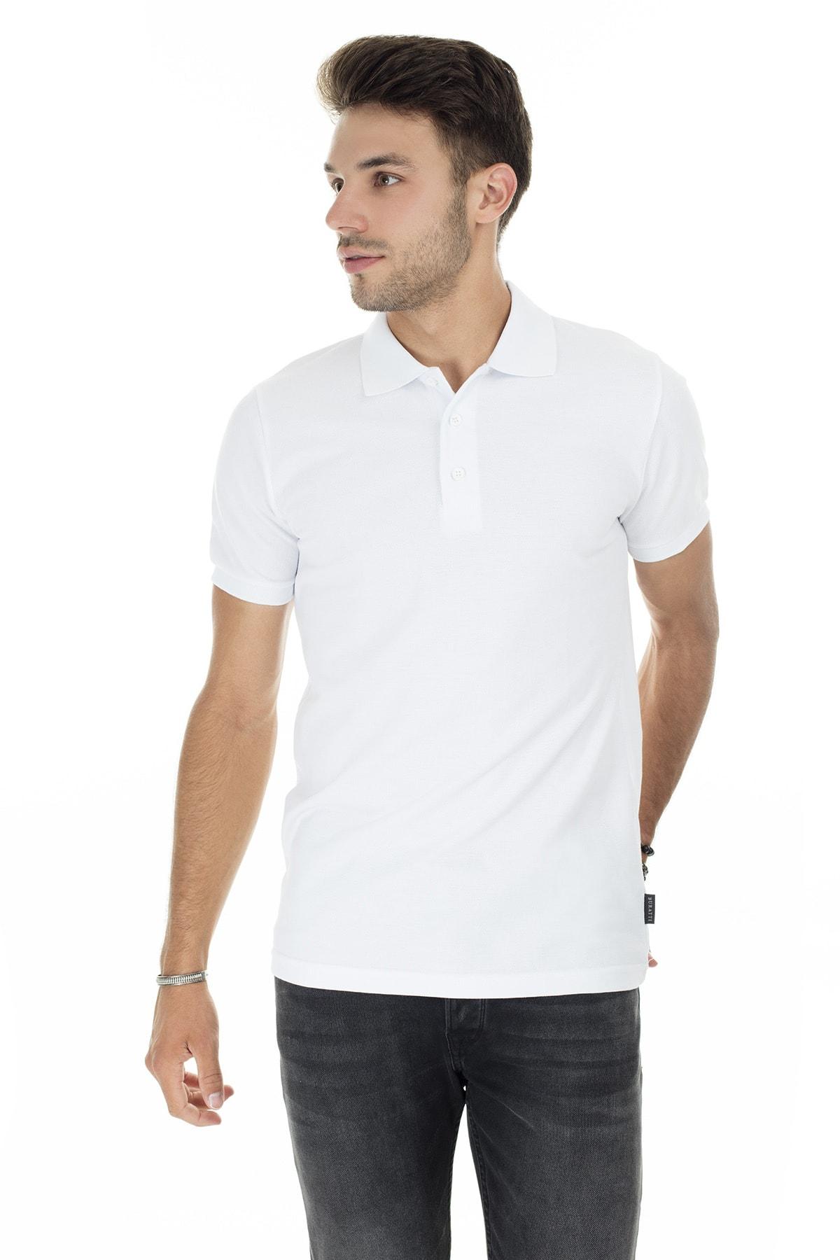 Buratti Erkek Beyaz Düğmeli Polo Yaka Pamuklu Günlük T Shirt 4362050 3