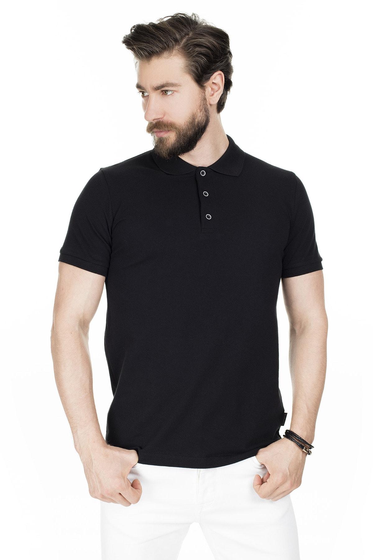 Buratti Erkek Siyah Düğmeli Polo Yaka Pamuklu Günlük T Shirt 4362050 0