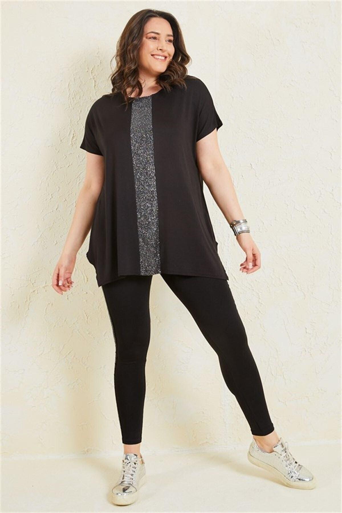 Kadın Siyah Büyük Beden Salaş Önü Sim Detaylı T-shirt