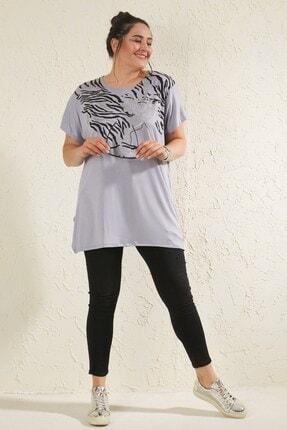 Siyezen Kadın Gri Büyük Beden Salaş Önü Baskı Detaylı T-shirt 3