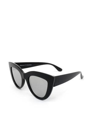 Hane14 Kalın Çerçeveli Tasarım Aynalı Camlı Cat Eye Bayan Güneş Gözlüğü Siyah 2