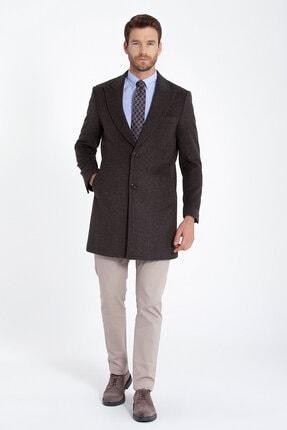 Erkek Kahverengi Kırlangıç Yaka Kaşe Palto resmi