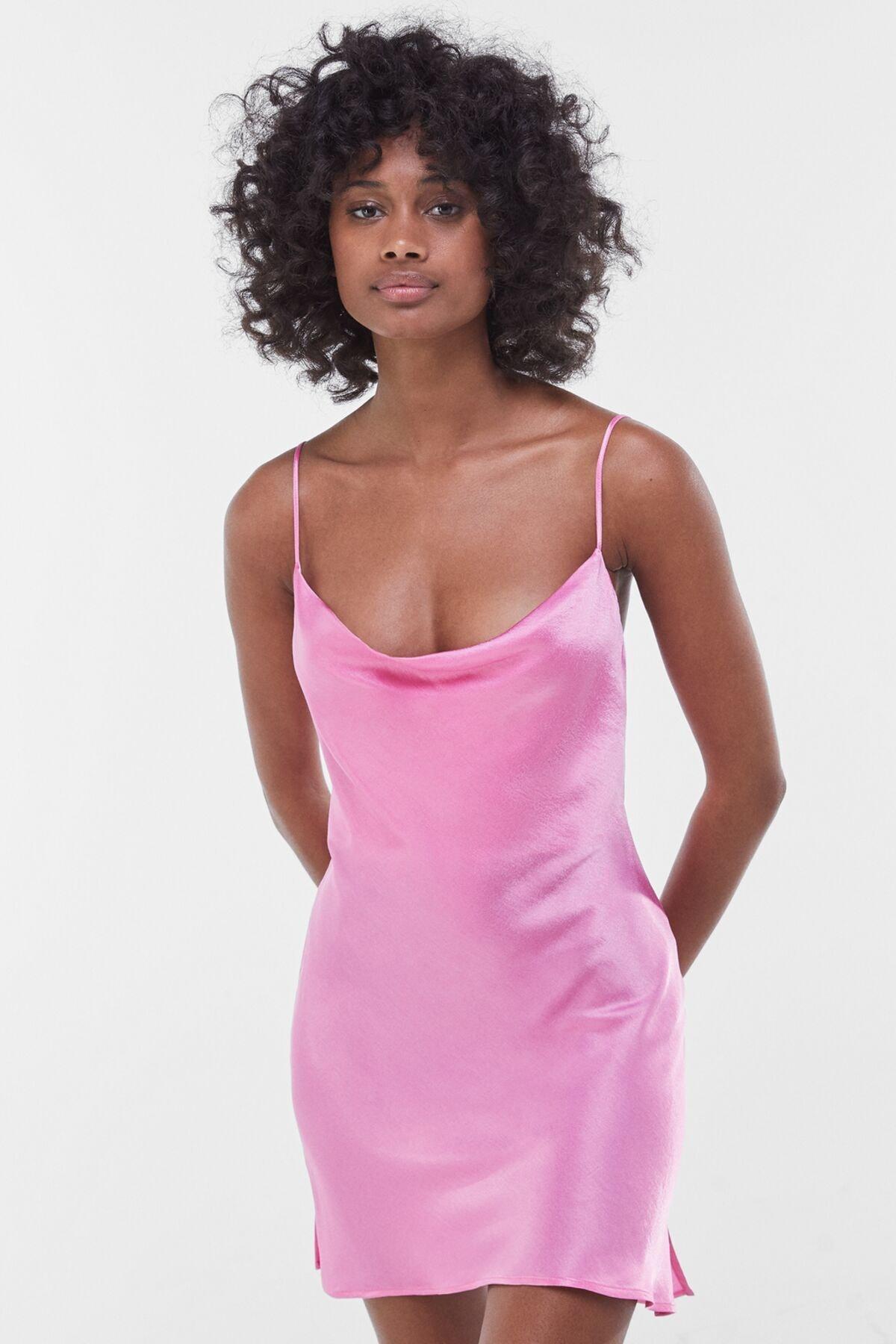 Bershka Kadın Fuşya Saten Mini Slip Elbise 00581168 0