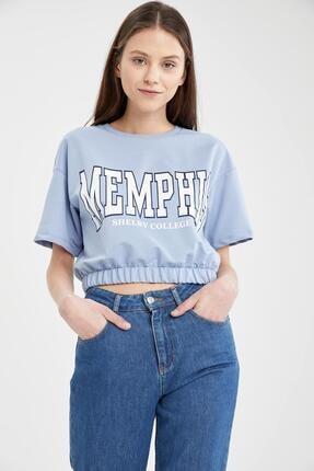 Defacto Kadın Mavi Yazı Baskılı Beli Lastikli Crop Tişört 4