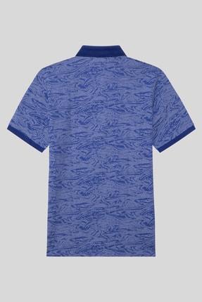 Halifaks Erkek Lacivert Polo Yaka Desenli Pamuklu T-shirt 2