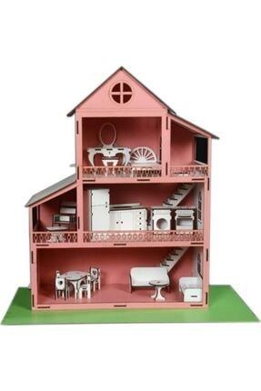 Rüya Gezegeni Ahşap Oyun Barbie Evi 18 Parça Mobilyalı Eşyalı 0