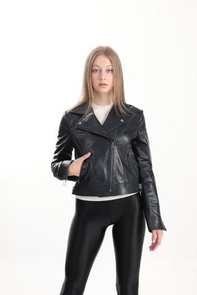 Kadın Lacivert Hakiki Deri Bıker Ceket 5054