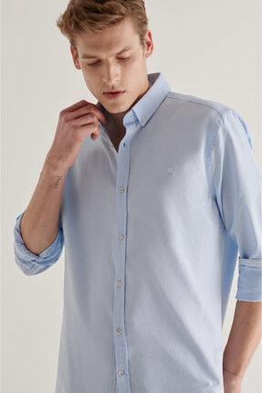 Avva Erkek Açık Mavi Düz Düğmeli Yaka Regular Fit Gömlek A11y2026 1