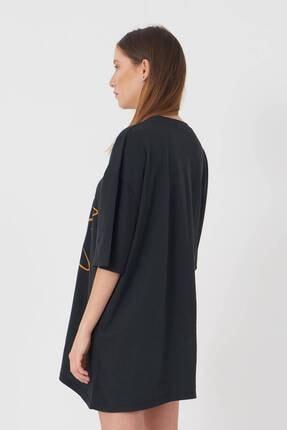 Addax Kadın Füme Baskılı Oversize T-Shirt P9411 - U2 Adx-0000022043 4