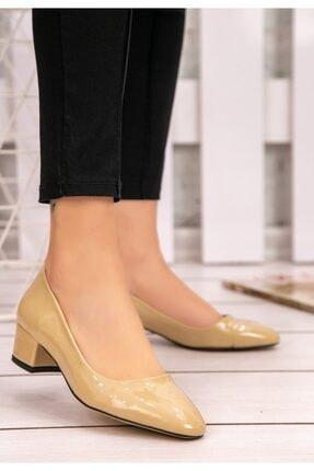 Krem Rugan Topuklu Ayakkabı 22139