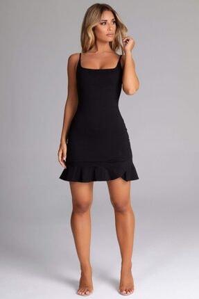 tknfashion Esnek Krep Kumaş Ince Askılı Etek Ucu Volan Detaylı Siyah Abiye Elbise 0
