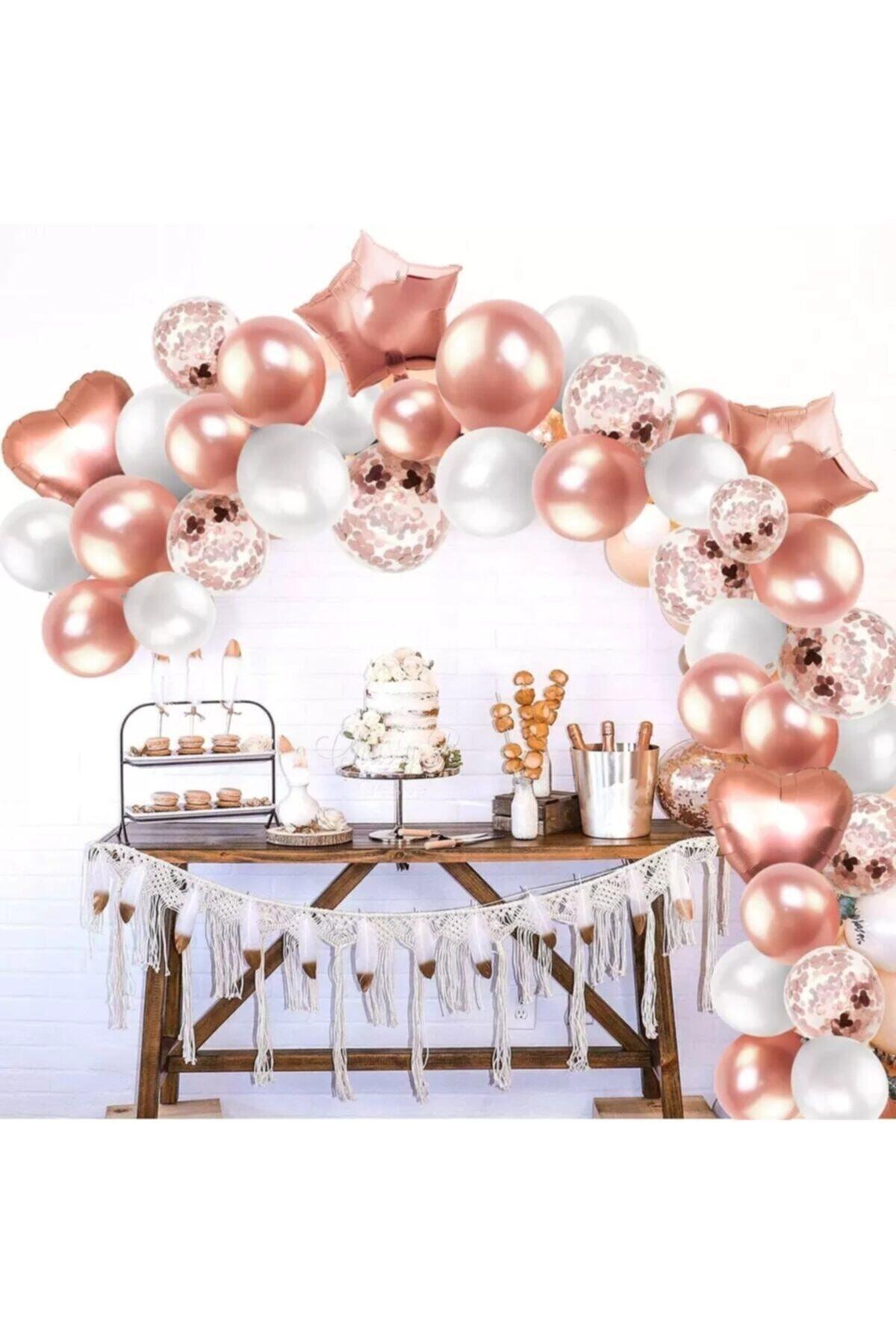 Rose Gold Folyo Kalp Yıldız Balon Rose Konfetili Şeffaf Ve Rose Gold, Beyaz Metalik Zincir Set Balon