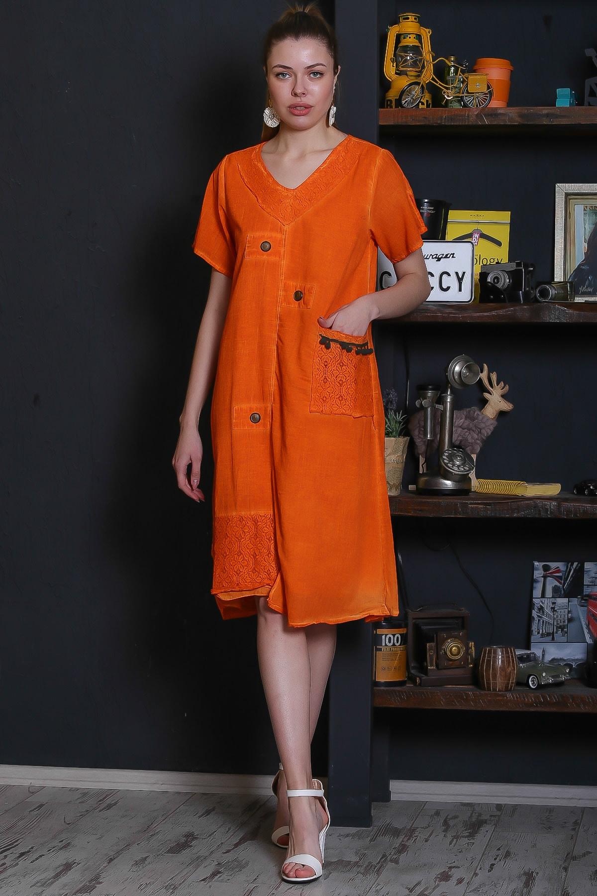 Chiccy Kadın Turuncu Dantel Yaka Ve Cep Detaylı Süs Düğmeli Astarlı Yıkamalı Elbise M10160000EL95281 1