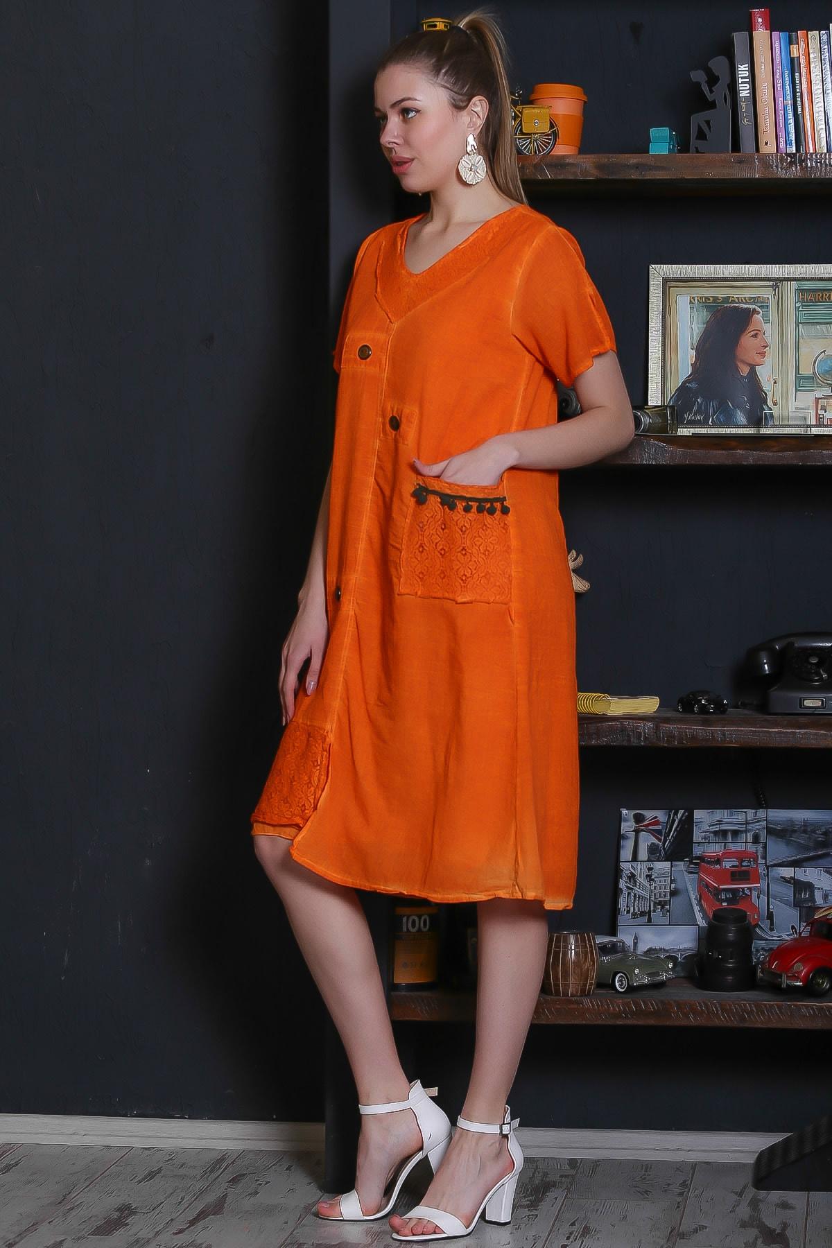 Chiccy Kadın Turuncu Dantel Yaka Ve Cep Detaylı Süs Düğmeli Astarlı Yıkamalı Elbise M10160000EL95281 2