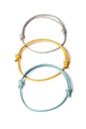 Chill & Feel Kalın Ip - Mavi, Sarı, Gri 3lü Ayarlanabilir Bileklik 0