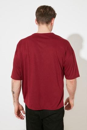 TRENDYOL MAN Bordo Basic Erkek Bisiklet Yaka Oversize Kısa Kollu T-Shirt TMNSS21TS0811 4